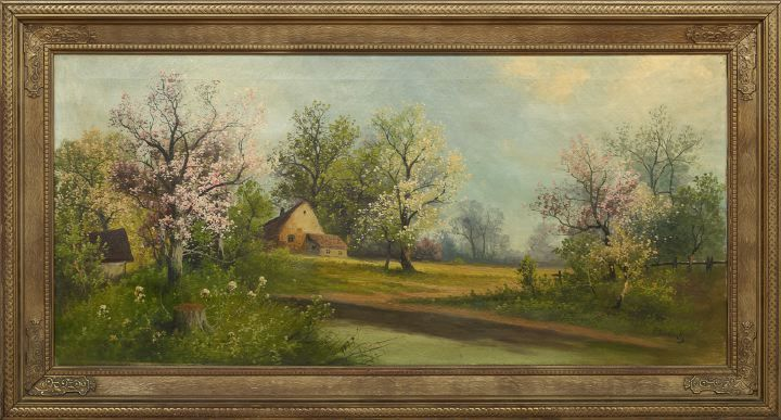 Springtime View of a Cottage in the Country