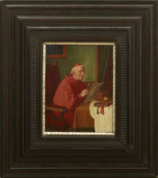 Interior Scene with a Cardinal Seated at His Desk Reading a Paper