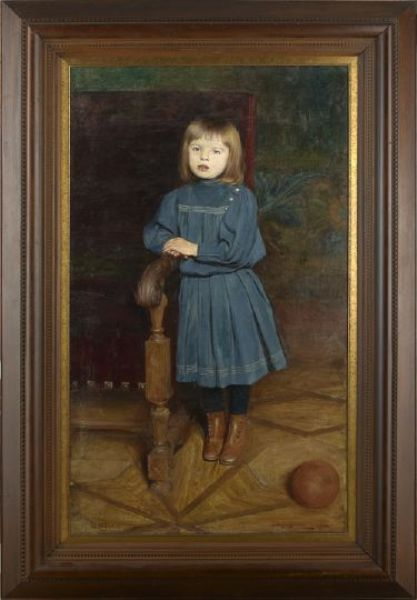 Full-Length Portrait of a Young Girl in a Blue Dress Leaning Against a Chair