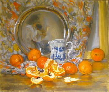 Still life with oranges, jug and dish