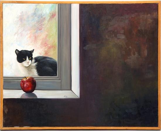 Gato y manzana junto a ventana