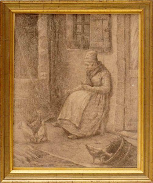 Bäuerin, vor der Tür ihres Hofes sitzend und die Hühner fütternd