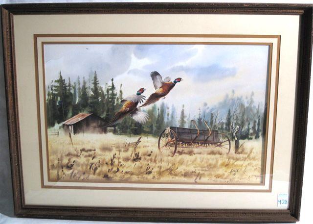 Pheasants taking flight