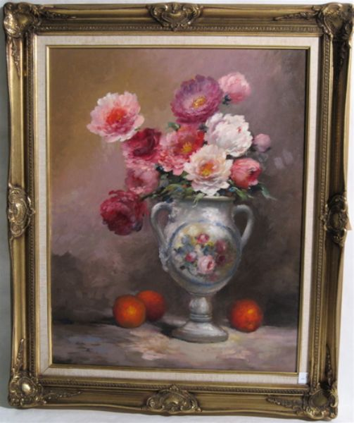 Floral still-life with oranges