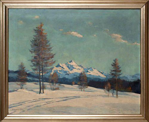 Winterliche Voralpenlandschaft, im Vordergrund eine Fahrspur durch den Schnee zwischen einzelnen Bäumen