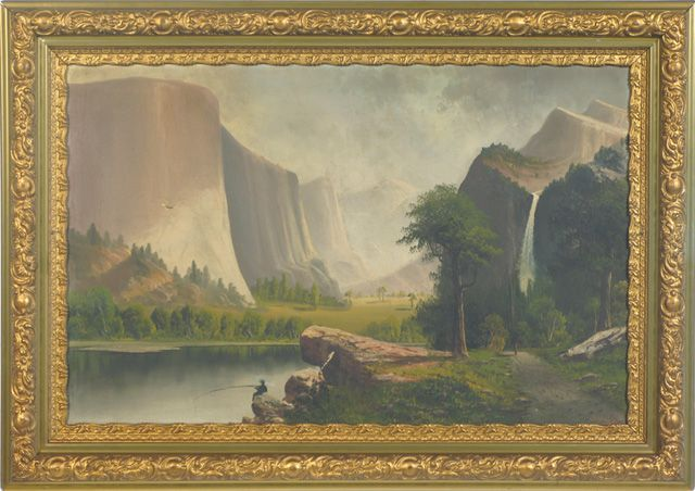 Yosemite, California landscape with man fishing off a rock, Indian walking up foot path