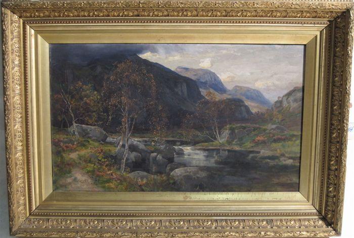 Summer landscape in the Scottish Highlands with fisherman along a boulder strewn stream