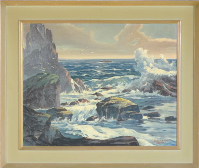 A rocky coastal seascape with crashing waves