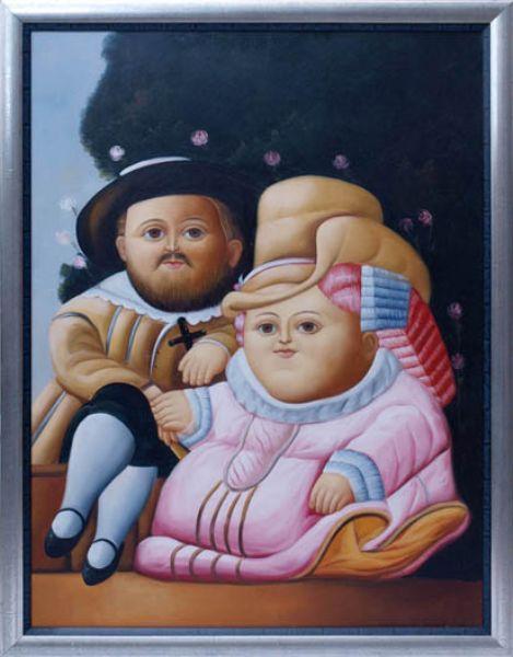Paar in der Tracht des 17.Jhdts., im Garten sitzend