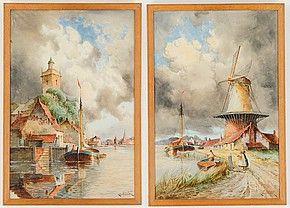 Holländska motiv med väderkvarn och pråm