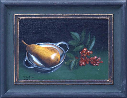 Fruchtzweig, Birne und Zinnschale