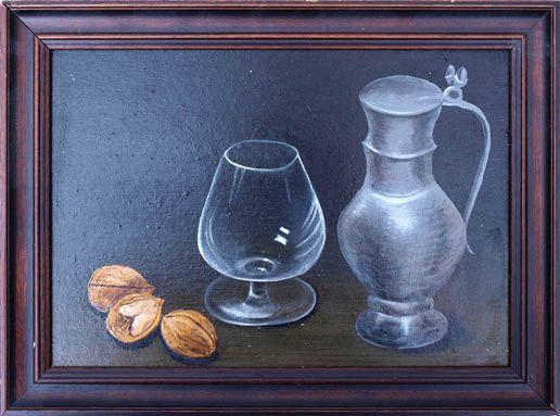 Zinnkrug, Cognacschwenker und Nüsse
