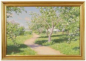 sommarlandskap med blommande äppelträd
