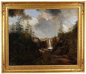 Bergslandskap med vattenfall
