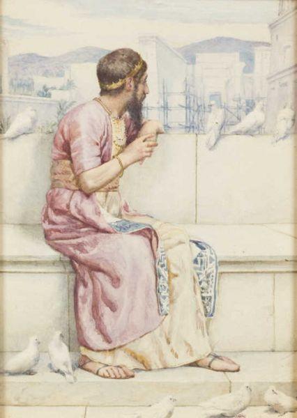 Roi aux colombes accoudé contemplant la construction d'un temple