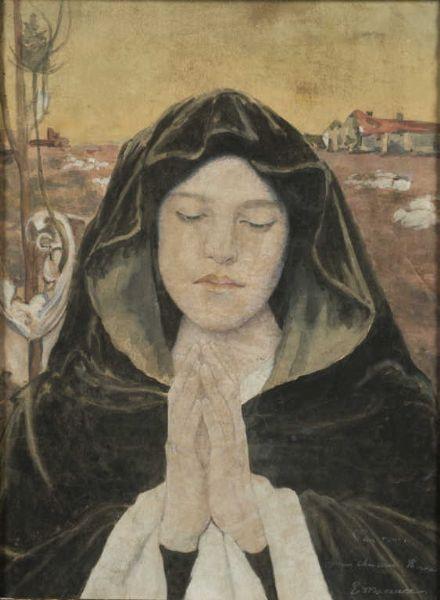 Femme en prière de face