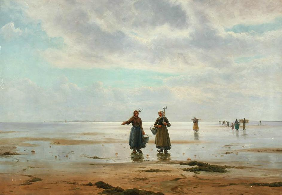 Costal scenery with oyster collectors