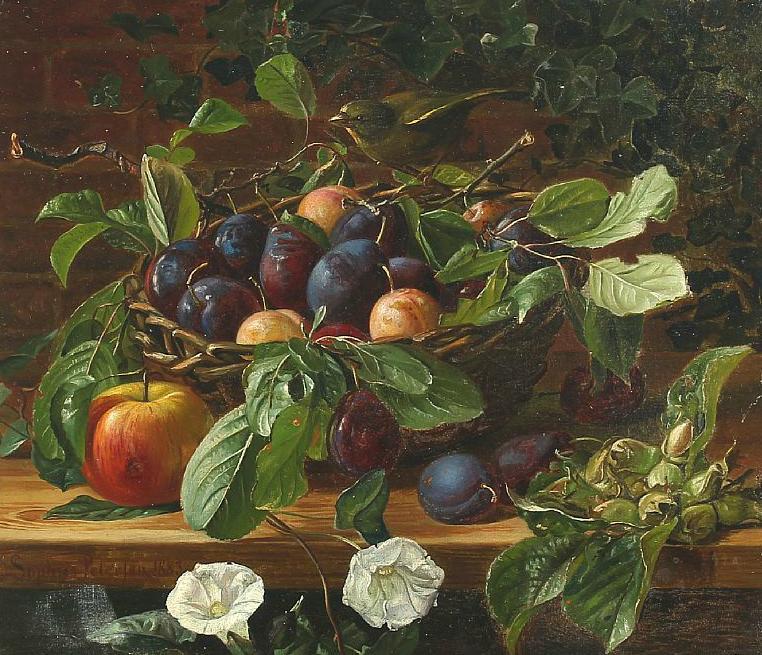Still life with bird and summer fruit