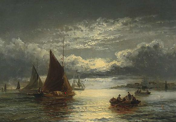 Coastal sceneries with fishing boats and fisherfolk