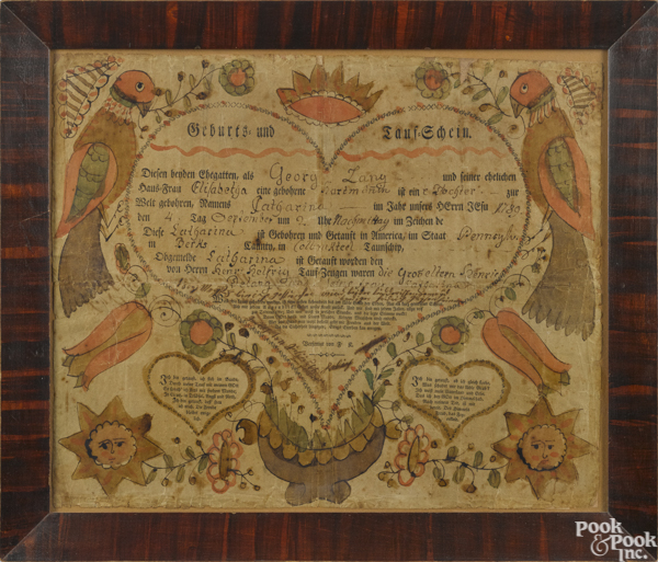 printed and hand colored fraktur birth certificate for Catharina Lang, b. 1789