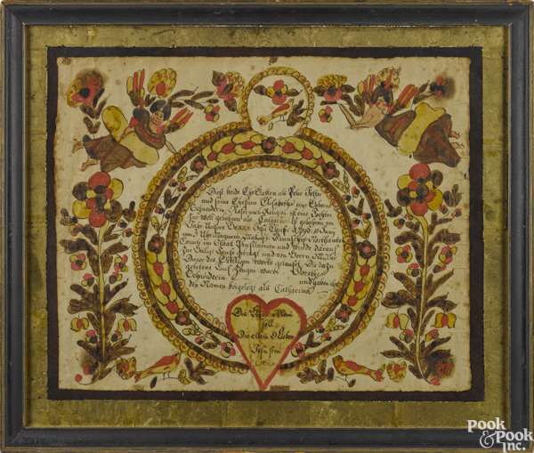 Northampton County ink and watercolor fraktur birth certificate for Catharina Fetter, b. 1790