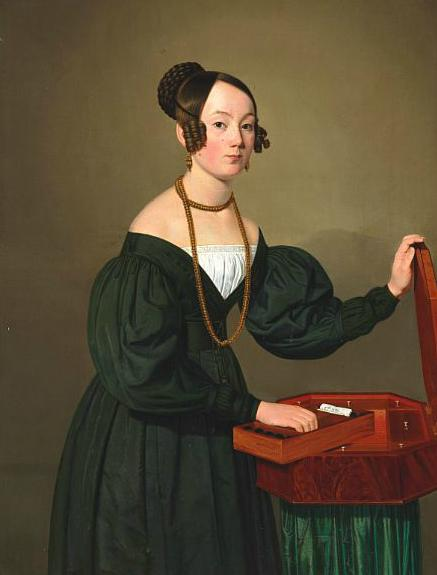 Portrait of a lady standing by a needlework casket