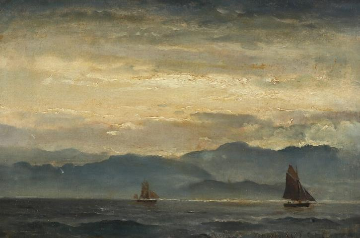 Ships off a coast of Scotland