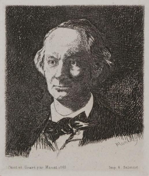 Baudelaire de profil en chapeau