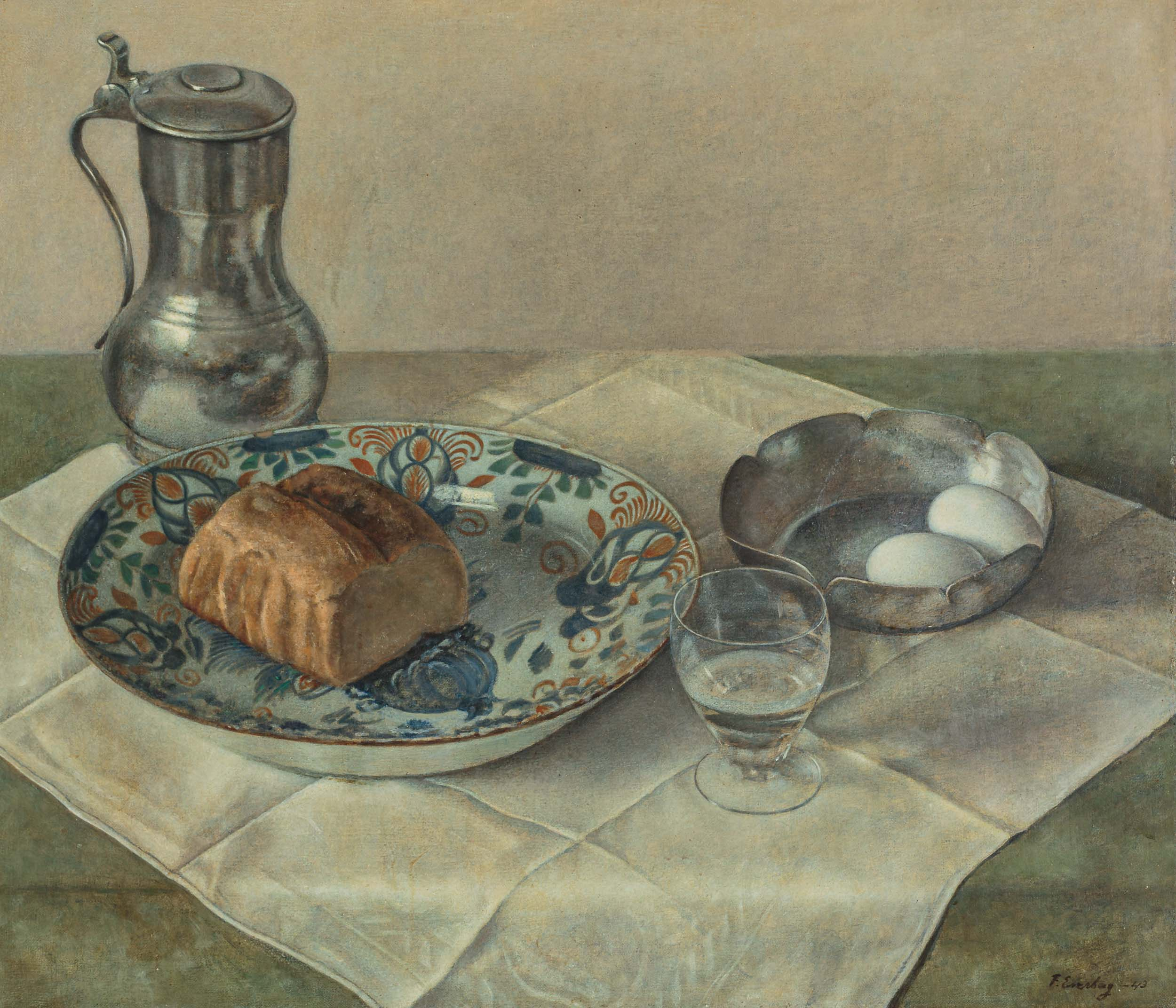 Still Life with Pewter, Loaf and Eggs