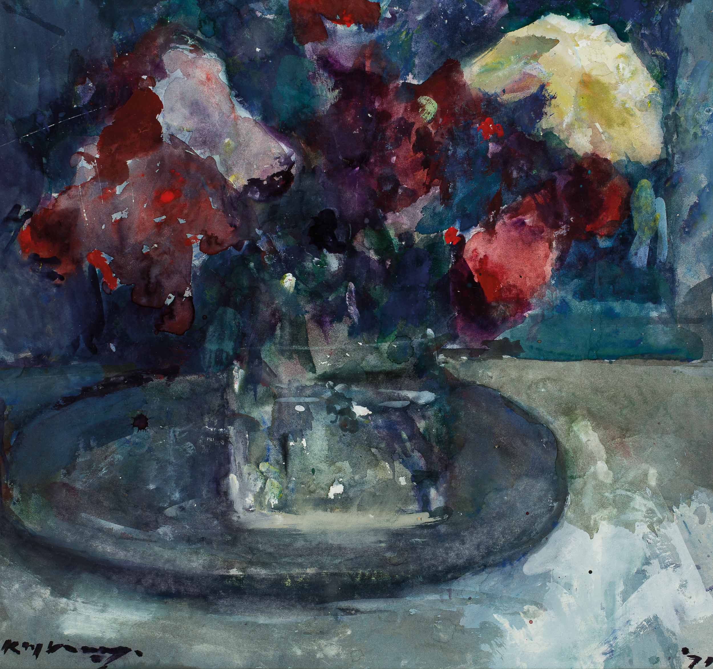Bouquet in Glas op Tinnen Bord (Bouquet in Glass on Tin Plate)
